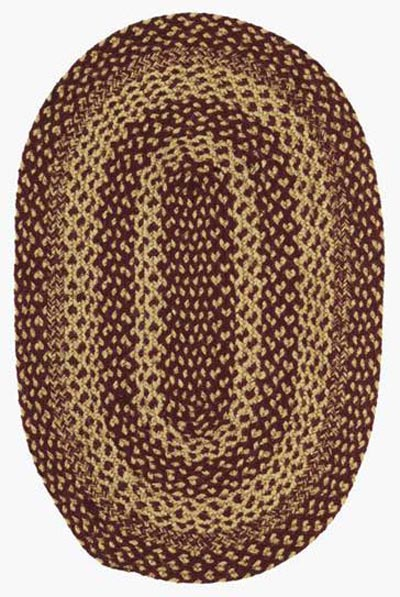 Burgundy and Tan Jute Rug - Oval (24 x 36 inch)