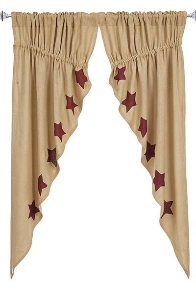 Burgundy Star Burlap Prairie Curtain 63 Inch