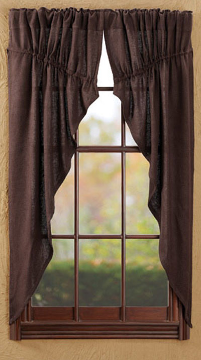 Burlap Brown Prairie Curtain (63 inch)