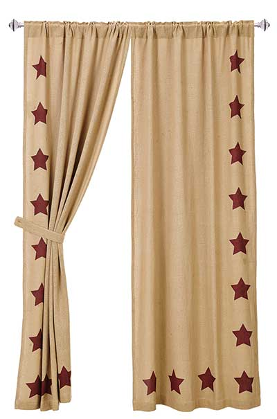Burgundy Star Burlap Curtain Panels (84 inch)