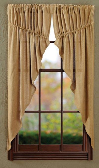 Burlap Natural Prairie Curtain (63 inch)