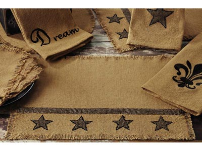 Burlap Table Runner with Black Stars - 36 inch