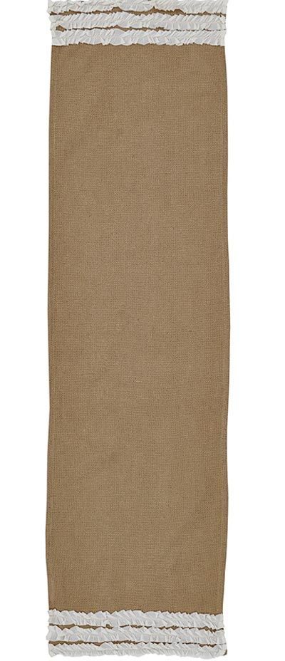 Burlap Table Runner, 48 inch - Creme Ruffled