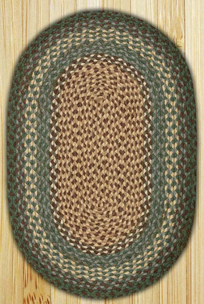 Dark Green Oval Jute Rug - 20 x 30 inch