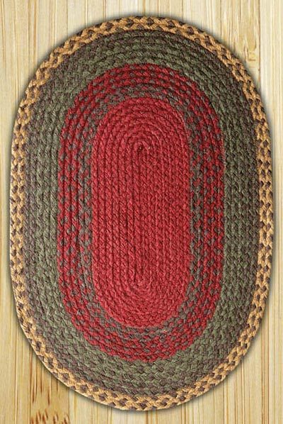 Burgundy, Green, and Sunflower Oval Jute Rug - 27 x 45 inch