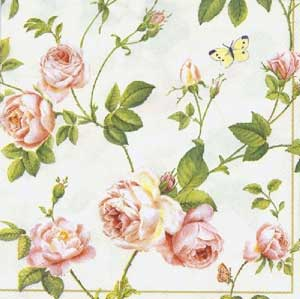 Rambling Rose Paper Cocktail Napkin