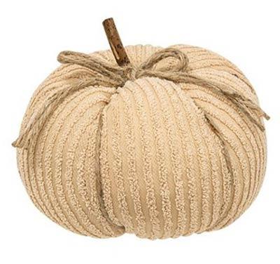 Ivory Chenille Pumpkin - 8 inch