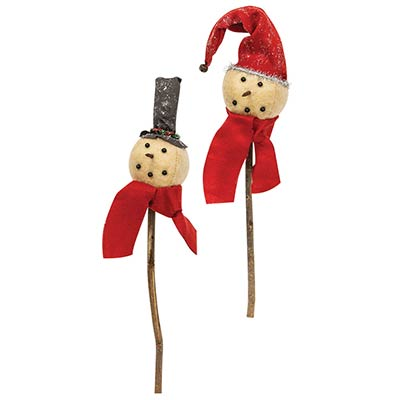 Primitive Snowman Stakes with Hats (Set of 2)