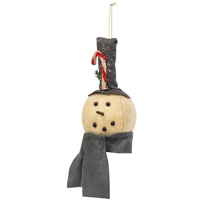 Primitive Snowman Ornament with Gray Scarf
