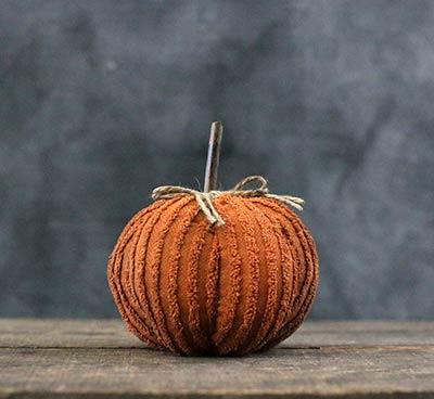 Medium Mini Orange Chenille Pumpkin