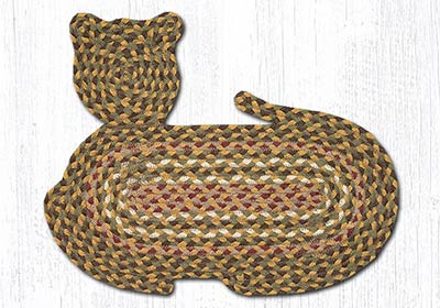 Olive, Burgundy, & Gray Braided Cat Rug