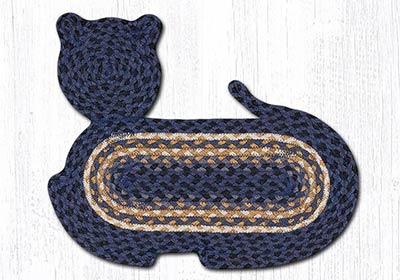 Light & Dark Blue Braided Cat Rug