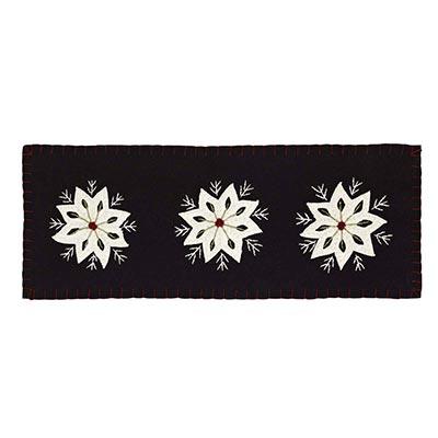 Christmas Snowflake Felt Embroidery Runner  (8x24)