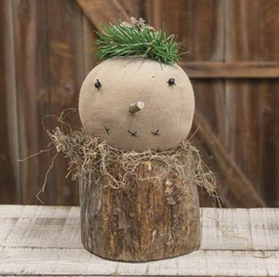 Primitive Snowman on Wood Stump
