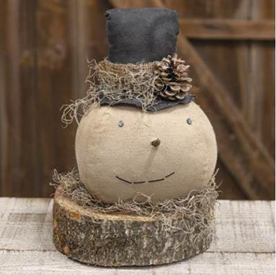 Primitive Top Hat Snowman on Wood Slice