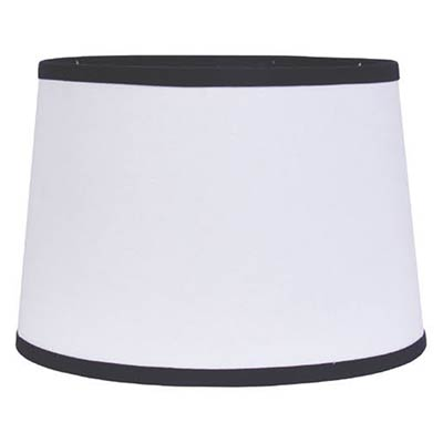 White with Black Trim Drum Lamp Shade - 14 inch