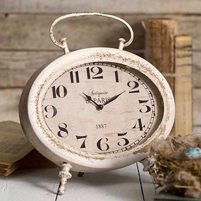 Distressed Oval Tabletop Clock