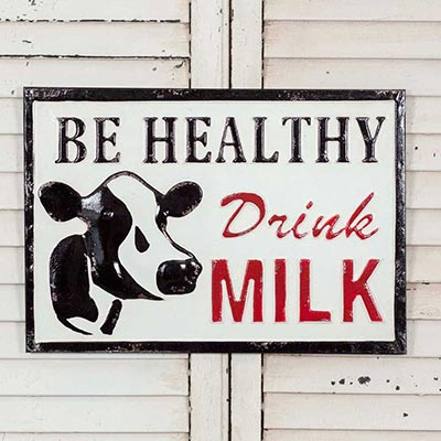 Drink Milk Farmhouse Metal Sign