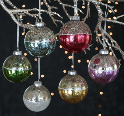 Antiqued Two Tone Christmas Ornaments (Set of 6)