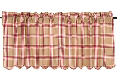 Elaine Rouge Plaid Cafe Curtains - 24 inch Tiers