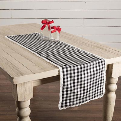 Emmie Black 48 inch Table Runner