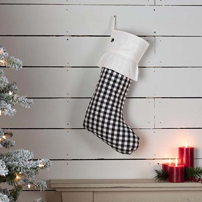 Emmie Black Check 20 inch Stocking