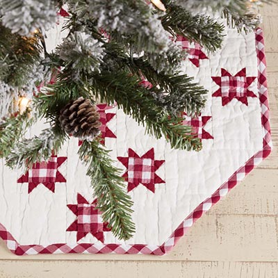 Emmie Red Patchwork Mini 21 inch Tree Skirt