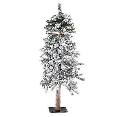Flocked Alpine Christmas Tree - 4 foot