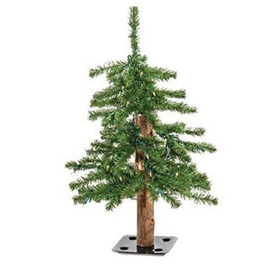 Pre-Lit Alpine Christmas Tree - 2 foot