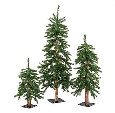 Pre-Lit Alpine Christmas Trees (Set of 3)