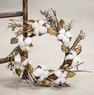 Twig & Cotton Ball Candle Ring