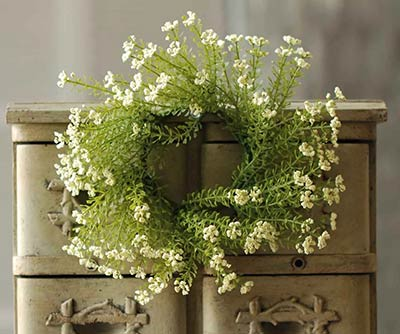 White Astilbe 3 inch Candle Ring