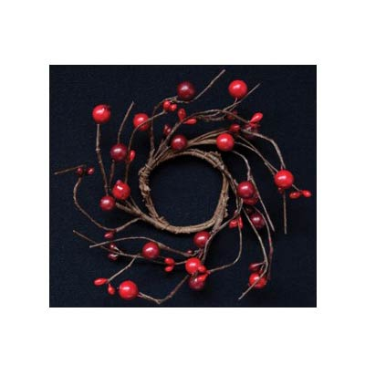 Burgundy & Red Berry Candle Ring - 2 inch