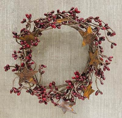 Burgundy Rusty Star Candle Ring