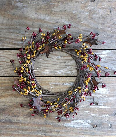 Burgundy and Old Gold Rusty Star Candle Ring