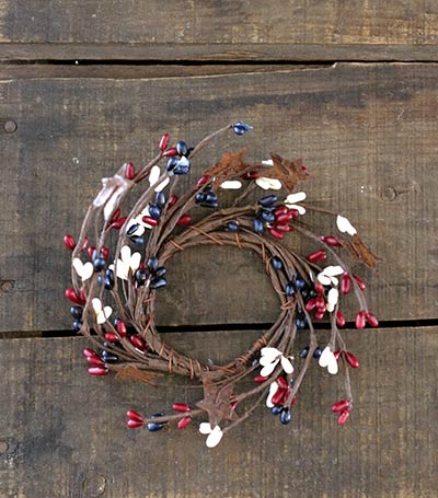Patriotic Pip Berry Candle Ring with Stars - 2 inch