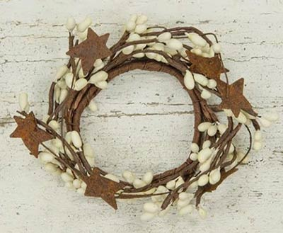 Ivory Pip Berry Candle Ring with Stars - 2 inch