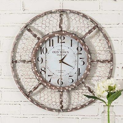Farmhouse Chicken Wire Wall Clock