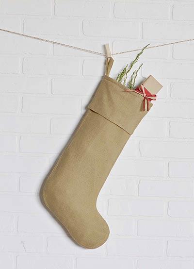 Festive Natural Burlap Stocking - Long