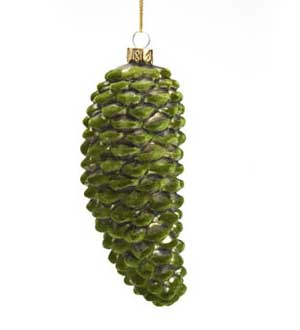 Glass Pinecone Ornament with Green Flocking
