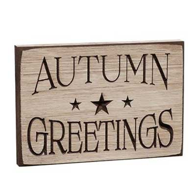Autumn Greetings Engraved Sign