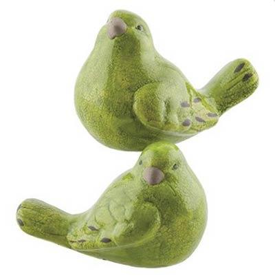 Green Crackled Bird Figurines (Set of 2)