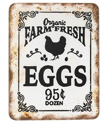 Farm Fresh Eggs Retro Tin Sign