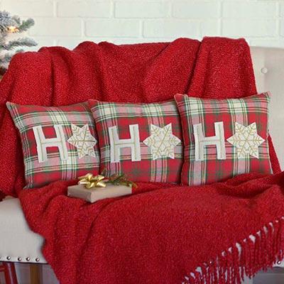 HO HO Holiday Pillow (Set of 3) (12x12)