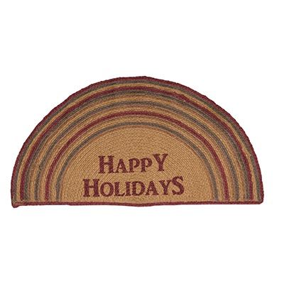 Happy Holidays Stencil Jute Half Circle Rug