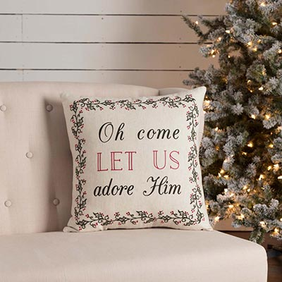 Hollis Oh Come Let Us Pillow (18x18)