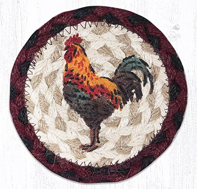 Rustic Rooster Braided Coaster