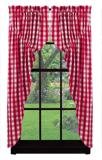 Picnic Red Check Prairie Curtain