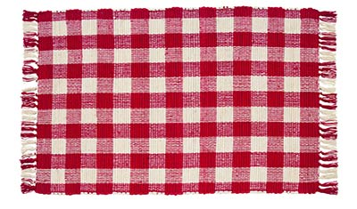 Picnic Red Check Woven Rug, by Olivias Heartland