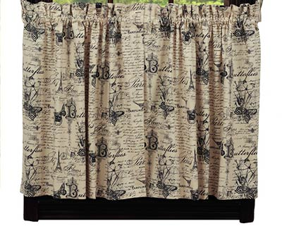 French Postcard Cafe Curtains - 24 inch Tiers